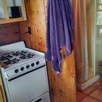 tiny kitchen and bathroom