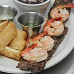 Surf and Turf with Fried Yuca and Black Beans (Best Steakhouse in Naples, Florida)