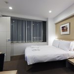 Room with large window and very clean and comfortable bed
