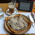 Banana, chocolate and hazelnut crepe + café Viennois
