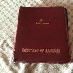 The in-room menu book in tatters