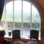 looking out from a comfy lounge into the rain