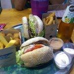 Burgers, fries, onion rings...