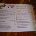 Spices restaurant menu