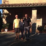 With Carlo and Nada in front of their home.