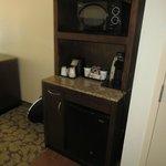 Mini fridge, coffee, & microwave in room 240