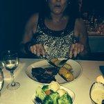 Sara loved her steak!