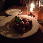 Swedish meatballs, mashed potatoes, cucumber and cranberries. Sooo good!