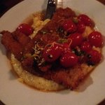 Cajun grouper and gouda grits with blistered tomatoes