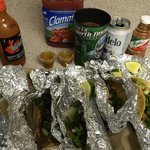 Goat, pork, and beef tacos (micheladas not from the restaurant)
