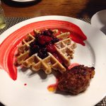 Waffle and Homemade Sausage....delish and this is the norm for presentation!!!