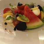 Boccacine with water melon, golden beetroot & balsamic pearls