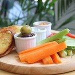 Tzatziki & Roasted Red Pepper Hummus Dips