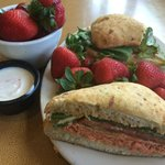 Salmon Sandwich with 2 Sides of Strawberries