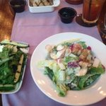 Roasted Zuchini, Pear, Pine Nut, Rocket and Persian Feta Salad (left) with Chopped Salad (right)