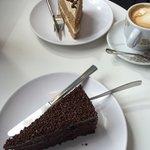 Chocolate cake and a Coffee and walnut cake
