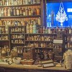 New Orleans Pharmacy Museum display of 1800s pharmacy