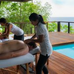 a massage on the deck at Zabuco