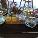 Breakfast served in your room daily, and it is delicious!