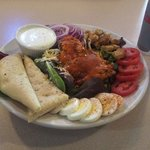 House salad with grilled chicken, buffalo style!   Drink included, 8.99.