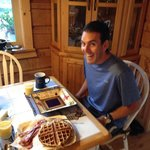 Definitely recommend requesting homemade waffles made on the antique waffle iron