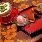 Tiramisu au thé vert et gateau japonais à la pâte de haricots rouges