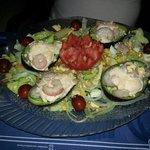 Avocado sallad with gambas.a