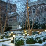 Snowfall on the Dinsmore House courtyard