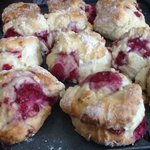 Raspberry & white choc scones
