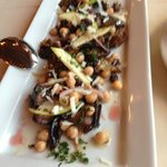 "Harris Heritage Eggplant ""Scapece"" Salad with garbanzo beans, local apples, fresh oregano,  shav"