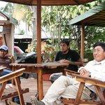 Hotel patio & staff