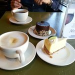 Latte, americano, chocolaté and lemon cakes