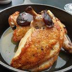 Roast Chicken with mushrooms and bread