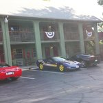 Front of Lodge with Corvettes!