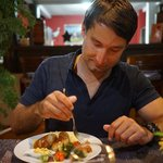Enjoying the delicious meal... so good!
