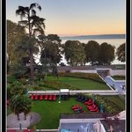 Morning view from 4th floor guest balcony of Hilton Evian-Les-Bains in October 2014.