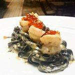 black pasta, prawns, truffle, salmon roe