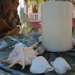 Candles with seashell decoration
