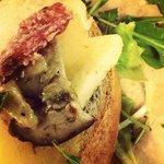 Seasonal Cicchetti always on tour: Pecorino cheese, salame and porcini mushrooms.