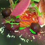 smoked salmon, beetroot, chicory, horseradish