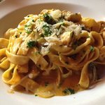 Fettuccine with chicken, mushroom, and other yummy bits. Amazing taste.