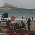 Edde sand lifeguards keeping an eye on the swimmers while flag is red