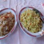 Riz au curry et crevettes à l'ail. :)
