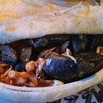 Seafood stew under a 'blanket'