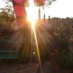 por do sol no jardim do hotel
