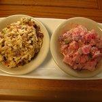 Apricot Almond Cole Slaw and Pink Potato Salad