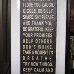 Inspirational Words Inside the cafe
