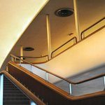 The stairwell and upper balcony at Kleinhans Music Hall.