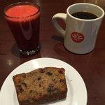 coffee, red planet juice, cranberry walnut bread