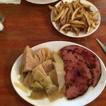 ham n cabbage with fries